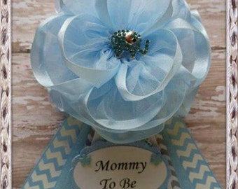 Elephant Mommy To Be Corsage Blue And White Chevron Theme Baby Shower Corsage