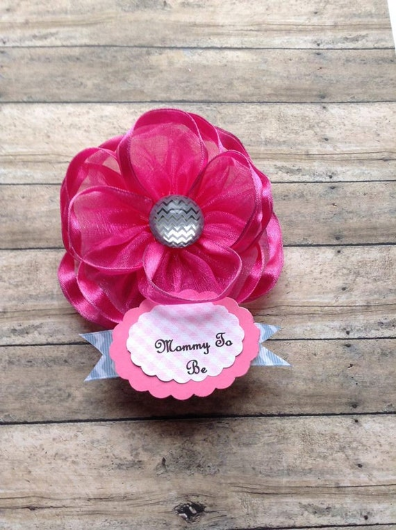 Hot Pink U0026 Grey Chevron Mommy To Be Corsage Baby Shower Corsage Mom Badge  Itu0027s A Girl Baby Shower Mom Corsage Pink Ribbon Flower From  AlittleSweetBowtique ...