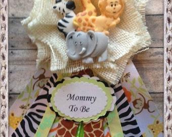 Safari Jungle Animals Mommy To Be Corsage Baby Shower Corsage Safari Theme  White Burlap Corsage