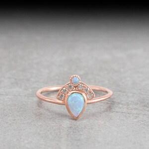 Diamond necklace Australian white opal necklace gold fan necklace teardrop pendant dainty pear shaped pendant