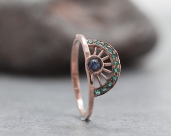 Fan ring, Crown Ring, Sapphire ring, Rose Gold Ring, Green Stones, Wheel, Red Gold, Dainty, Stacking ring, September birthstone