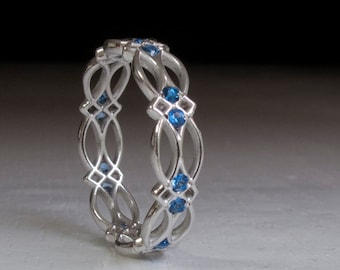 Sterling Silver Celtic Ring - Eternity Ring - Sapphire Ring