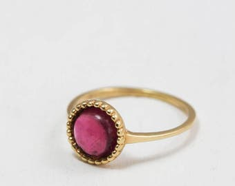 Tourmaline ring gold - dainty gold ring - jewelry - Pink Tourmaline ring - October birthstone - Pink Tourmaline jewelry