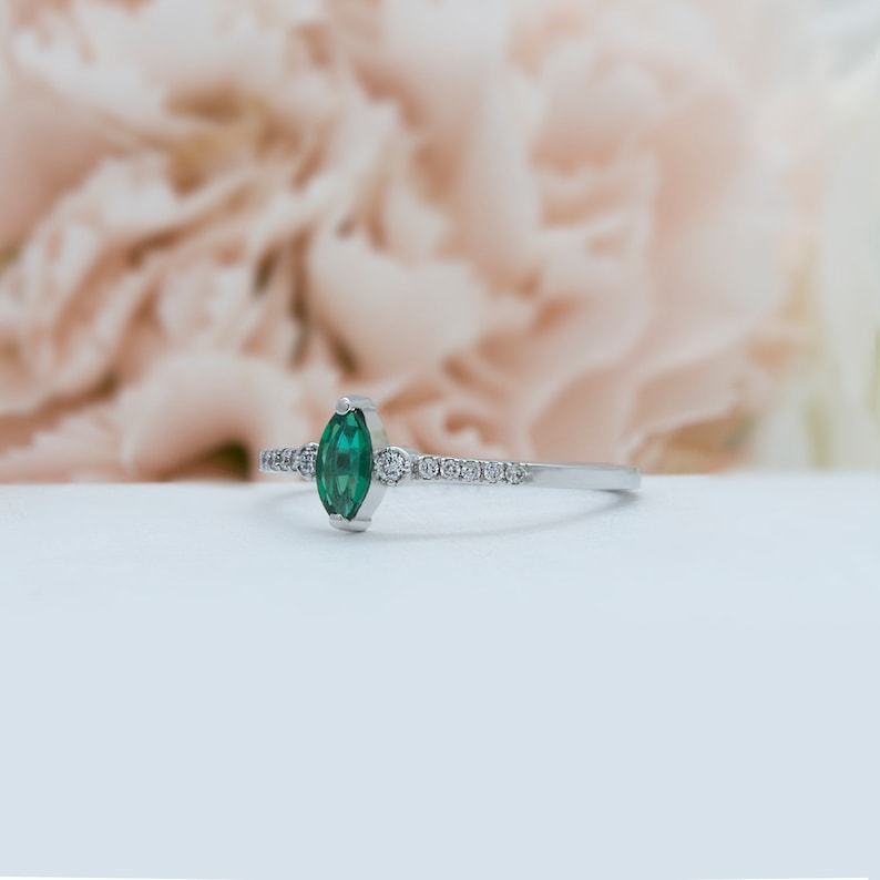 Marquise cut gemstone ring vintage yellow gold Emerald Diamond ring rose gold engagement dainty gold ring white gold