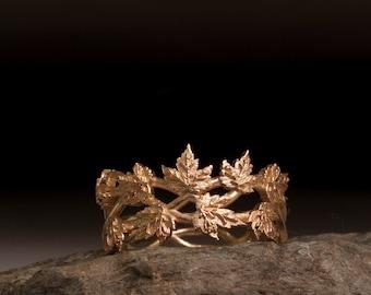 Gold Leaf Ring - vine ring - maple leaf ring - oak leaf ring - nature ring - branch ring - twig ring - gold ring - tree ring - Bridesmaid
