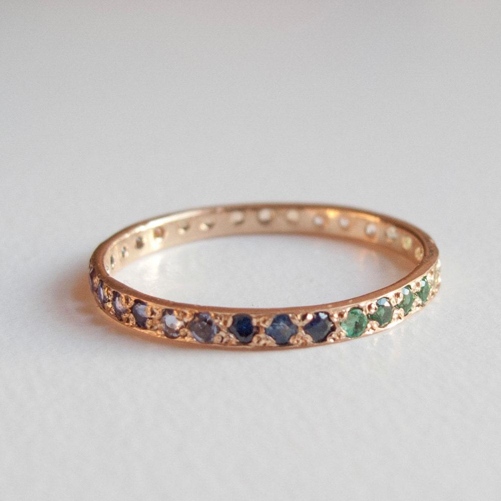 Eternity Ring Sapphire Emerald Amethyst Blue Topaz
