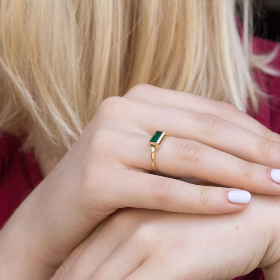 Baguette Emerald Green Gemstone. dainty ring Baguette Emerald and Diamond ring