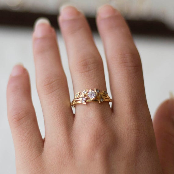 Gold Leaves Engagement Ring   Diamond Engagement Ring   Unique Engagement Ring     Flower Engagement Ring   Gold Ring by Etsy