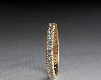 Aquamarine  Gold eternity updeck ring - March Birthstone