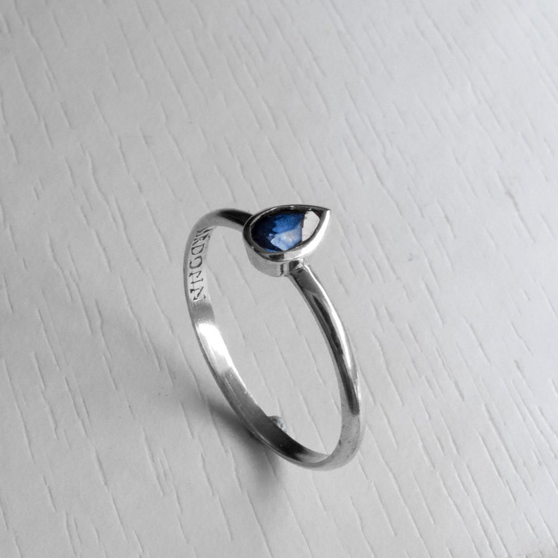 Sapphire Engagement Ring July Blue Stone Ring Tear Shaped Sapphire Ring White Gold Sapphire Pear Shaped ring Something Blue