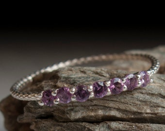Alexandrite ring - Half eternity - stacking ring - purple stone ring