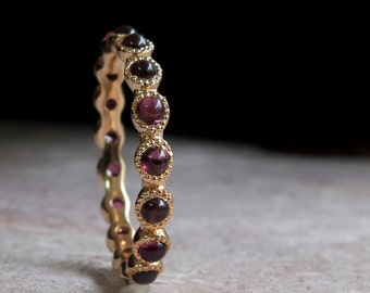 Garnet Gold Eternity Ring - 14 Karat Ring - 9 Karat - 18 Karat Gold