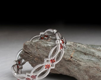 White Gold Celtic Garnet Ring
