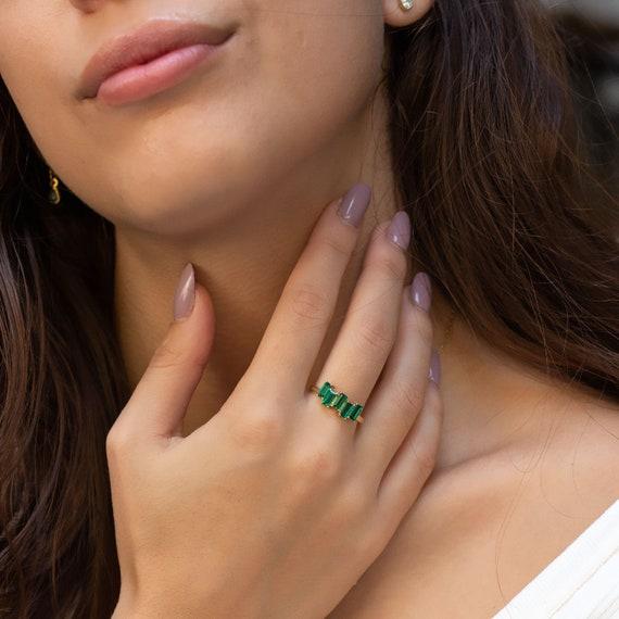 Five Baguette Emerald Ring, Baguette Ring, Emerald Ring For Women, Baguette Emerald by Etsy