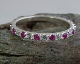 Alternating Ruby and White Sapphire Eternity White Gold Ring