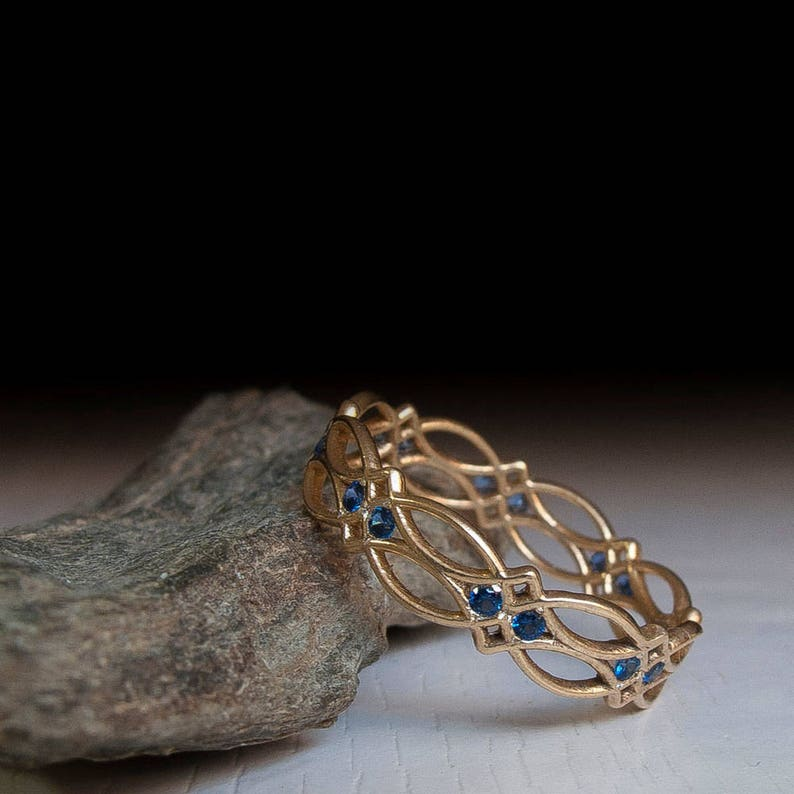 gothic Celtic Eternity Ring texture Sapphire Ring Gold Ring Blue Stones ring Something blue victorian pattern