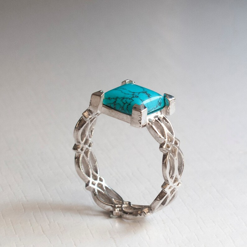 Eternity Ring Turquoise Sterling Silver Celtic Ring