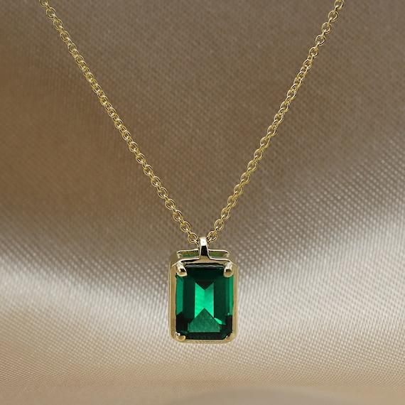 Emerald Tassle Pendant Necklace Long Pendant Necklace Emerald Statement Necklace Emerald Jewelry