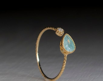 Solid Gold Open ring - Turquoise Green - adjustable Stacking ring