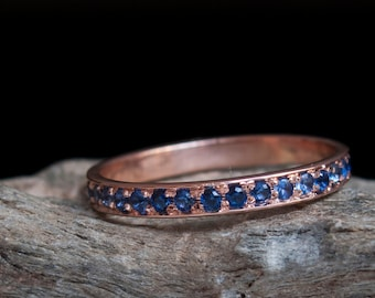 Sapphire Rose Gold Eternity Ring