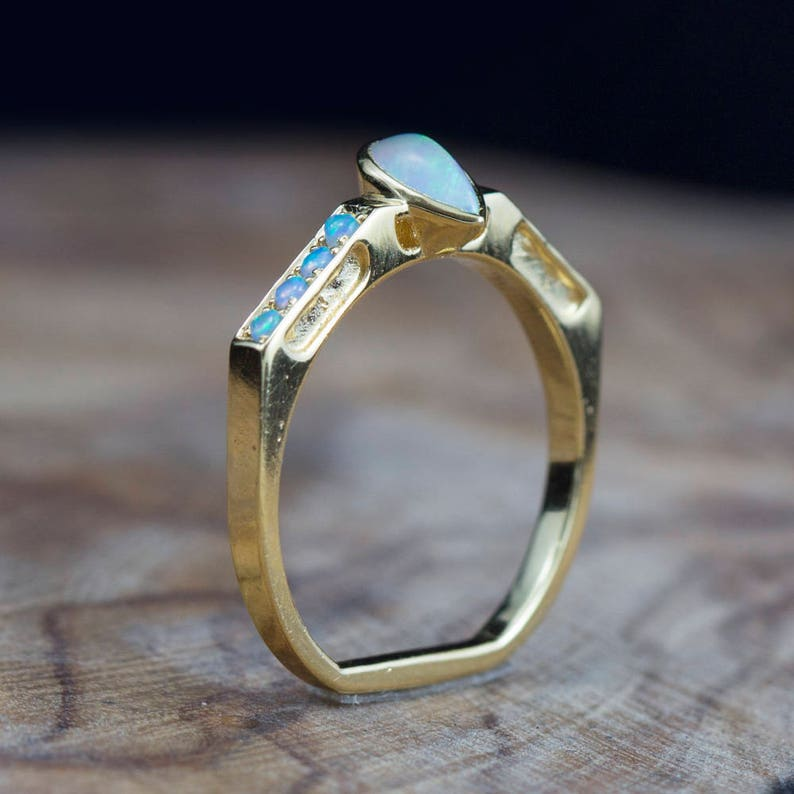 Opal ring Gold ring Pave Pear cut Natural Opal. Geometric image 0