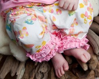 Floral Baby Girl Ruffle Leggings - Flower Newborn Ruffle Pants - Boutique Girl Toddler Leggings - Preemie Girl Clothes