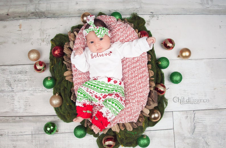 3e71b8e02 Fair Isle Baby Girl Christmas Outfits Newborn Girl Holiday   Etsy