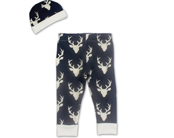 Navy Deer Newborn Boy Coming Home Outfit- Baby Boy Take Home Outfit- Deer Newborn Outfit Boy- Newborn Deer Outfit- Hunting Baby Shower Gift