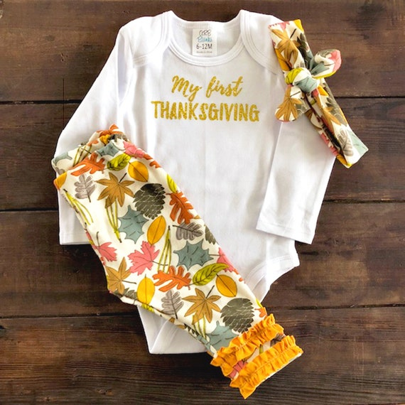 1d6138fd3102 My First Thanksgiving Outfit Personalized Baby Girl