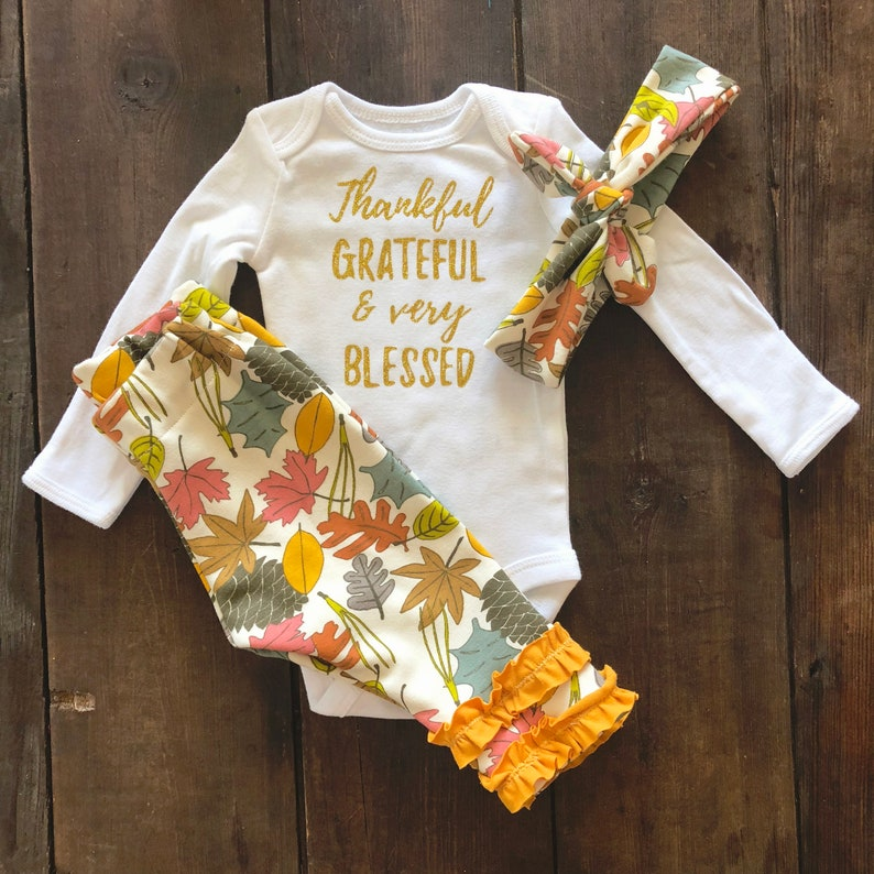 2155a96889665 Baby Girl Thanksgiving Outfit - Newborn Girl Fall Outfit - Coming Home  Outfit