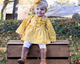Gold Polka Dot Dress- Girls Fall Dress- Gold First Birthday Dress- Baby Gold Dress- Peasant Dress Girl Toddler- Baby Boutique Fall Outfit