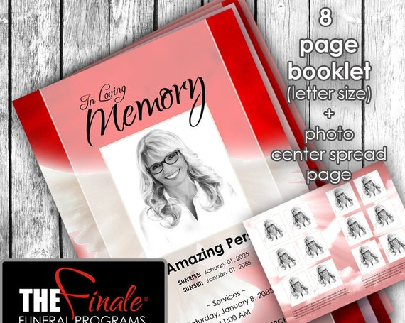 8 page booklet HEAVENLY DOVE RED ... (printable funeral program template) + photo center-spread page, Microsoft Word Document