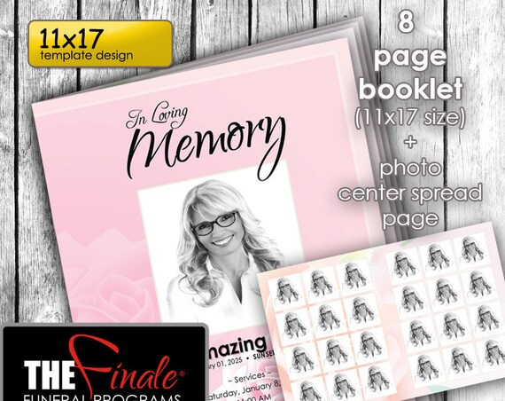 11x17 (8page Booklet) PINK ROSE... (printable funeral program template) WITH Photo Spread, Microsoft Word Document