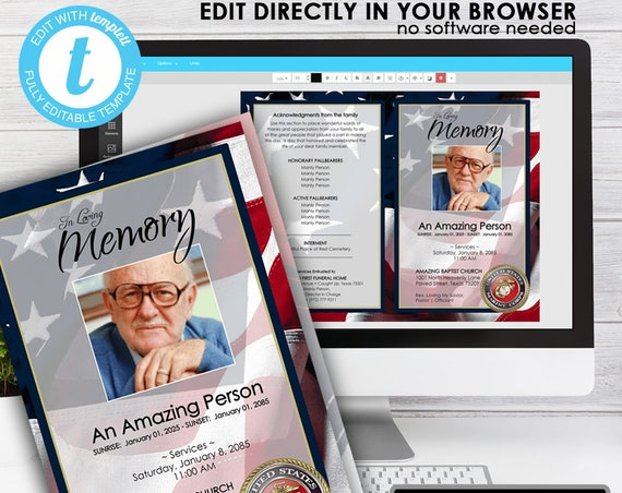 MARINE HONORS ... (printable funeral program template) EDIT Directly in your Browser, No Software Needed, Quick and Easy to Edit