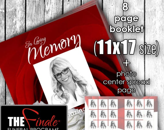 11x17 (8page Booklet) Red and White Roseville... (printable funeral program template)...WITH PHOTO SPREAD...Microsoft Word Document