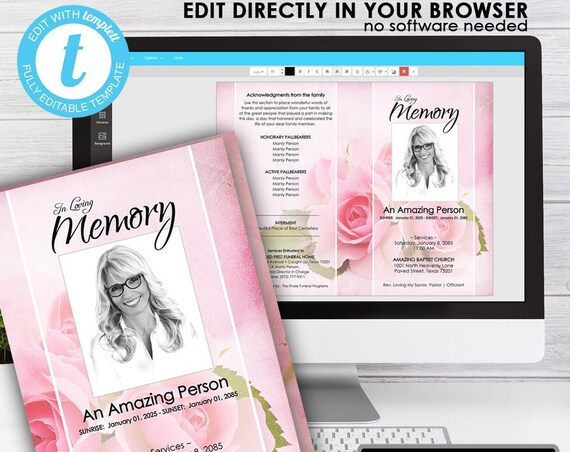 THE BLUSHING Roses ... (printable funeral program template) EDIT Directly in your Browser, No Software Needed, Quick and Easy to Edit
