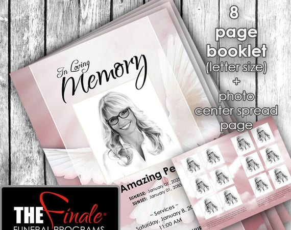8 page booklet HEAVENLY DOVE PINK ... (printable funeral program template) + photo center-spread page, Microsoft Word Document