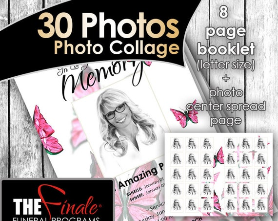 8 page booklet PINK BUTTERFLY WINGS (30 Photos center-spread) ... (printable funeral program template) Microsoft Word Document