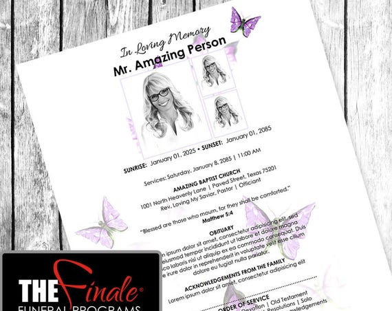 Purple Butterfly Wings ONE PAGER ... (printable funeral program template) Microsoft Word Document