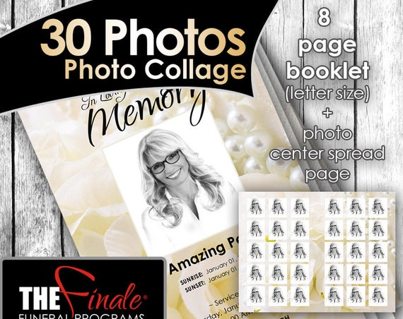 8 page booklet (30 Photos Center Spread) A Touch of Elegance ... (printable funeral program template) Microsoft Word Document