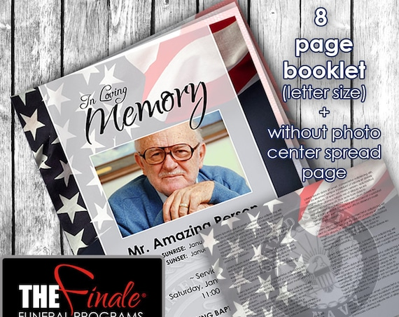8 PAGE Booklet The Pride of the Military NAVY, NO photo center-spread page... (printable funeral program template), Microsoft Word Document