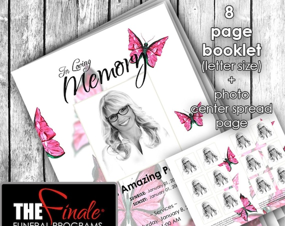 8 page booklet PINK BUTTERFLY WINGS ... (printable funeral program template) + photo center-spread page, Microsoft Word Document