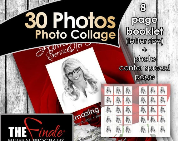 8 page RED and WHITE ROSEVILLE (30 Photos center spread)... (printable funeral program template) Microsoft Word Document
