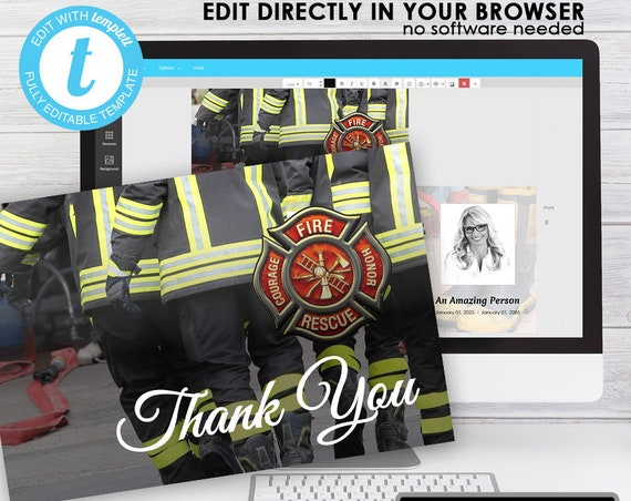 Thank You Card (4x6) ... (Courage in the FIRE) EDIT Directly in your Browser, No Software Needed, Quick and Easy to Edit