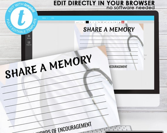 Please Share a Memory (4x6) ... (FIRST NURSE) EDIT Directly in your Browser, No Software Needed, Quick and Easy to Edit