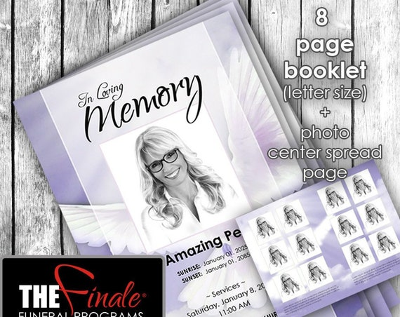 8 page booklet HEAVENLY DOVE PURPLE ... (printable funeral program template) + photo center-spread page, Microsoft Word Document