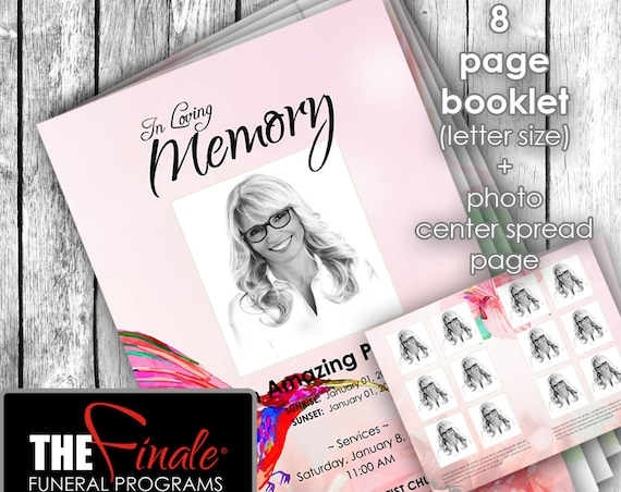 8 page HUMMINGBIRD AT PEACE ... (printable funeral program template) + photo center-spread page, Microsoft Word Document