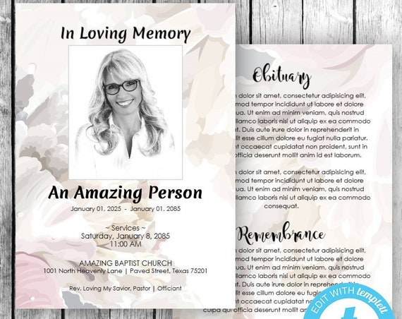 Memorial Cards, In Loving Memory Cards (5x7) (Soft Floral Fragrance) EDIT Directly in your Browser, No Software Needed, Quick & Easy to Edit