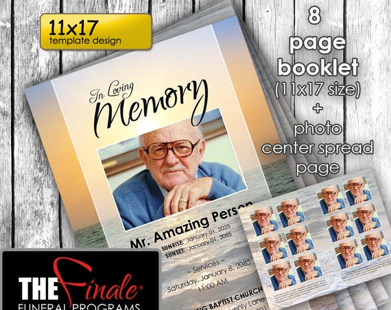 11x17  8 page Booklet TRUE SUNSET ... (printable funeral program template) + photo center-spread page, Microsoft Word Document