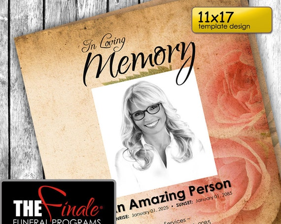 11x17 THE VINTAGE ROSE ... (printable funeral program template) + free title font included, Microsoft Word Document